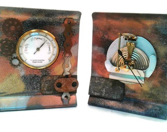 Hygrometer Steampunk Bookends Upcycled  Office Supplies  Library Supplies   Bookshelf  Upcycled