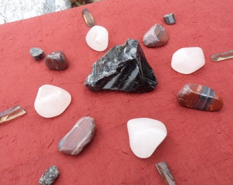 17pc Protection Grid, Crystal Grid, Crystal Points, Reiki, Jewelry, Rose Quartz, Tiger's Eye, Obsidian, Tourmaline, Smoky Quartz
