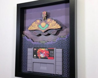 "Super Metroid Cartridge Holder 8""x10"" Shadowbox Super Nintendo"