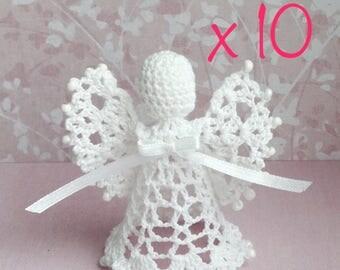 Set of 10 beaded Lace Angel Christmas Angel chrochet ornament Christmas ornament Christmas decor christening gift