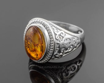 Sterling Silver Om (Aum) Oval Amber Cabochon Yoga Ring