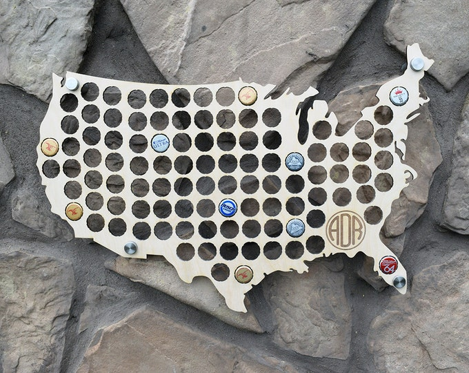 USA Beer Cap Map Holder with with Personalized Monogram