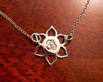 Sterling silver lotus OM pendant