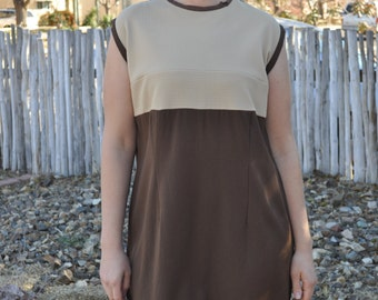 Vintage 1960s Brown and Cream Mod Dress