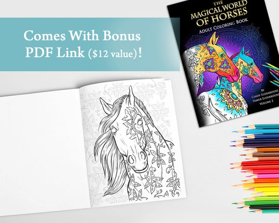 40 Adult Horse Coloring Book Digital Download PDF Pages To