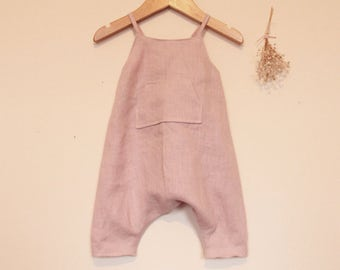 Handmade baby romper. Light pink washed linen romper. Girls romper. Toddler romper. Baby romper. Summer romper. Dungarees. Overalls.