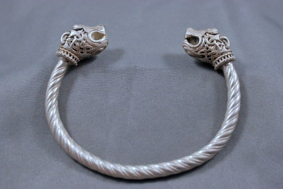 Awesome Heavy Sterling Norse-Viking Lion Torc Bracelet