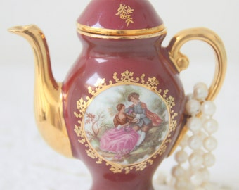 Beautiful Vintage Limoges Porcelain Miniature Coffeepot with Fragonard Decor, France