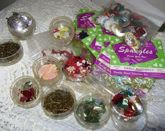 Vintage Lot of 1960's Sequins & Sequin Pins~~Includes 13 Packages of Spangles Butterflies