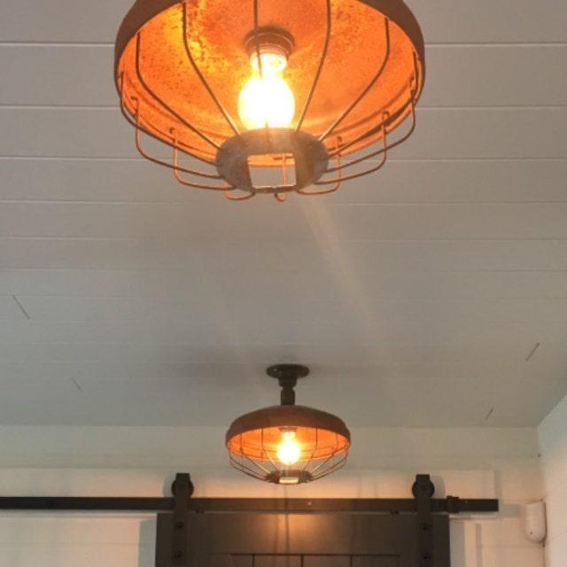 Funky Rustic Galvanized Pendant Light Via Etsy: Industrial Pendant Lights Glass Insulators By