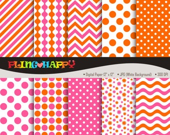 70% OFF Pink And Orange Digital Papers, Pink And Orange Digital Papers Graphics, Personal & Small Commercial Use, Instant Download