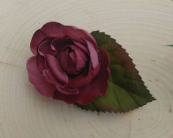 Purple silk flower hair clip /purple flower hair clip /flower clip