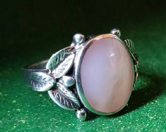 Pink Mother Of Pearl Inlay Sterling Silver Ring Size 5