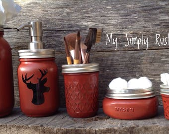 Deer Jar Decor-Cabin Decor-Mason jar bathroom set-mason jars-farmhouse decor-rustic bathroom set-soapdispenser-housewarming gift-wedding