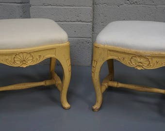 Vintage Pair of Painted Rococo Style Stools