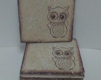 4x4 Travertine Stone Coasters/Art Decor (Set of 4) - Owl