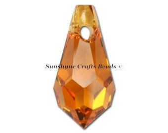 Swarovski Crystal Beads 6000 2pcs TOPAZ Teardrop Faceted Pendant - Sizes 11mm, 13mm & 15mm available