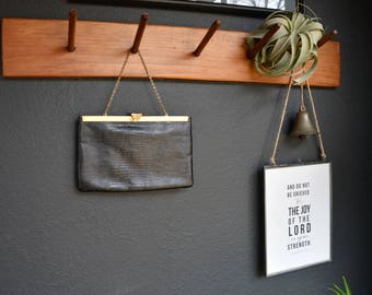 Vintage Etra Black Genuine Leather Clutch | Vintage Handbag