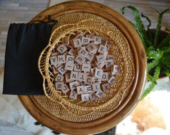 Vintage Set of Scrabble Tiles | Alphabet Letter Tiles | Wood Letter Tiles | 97 Piece Set Tiles Full Alphabet