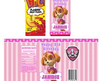 Paw Patrol Skye personalized Juice box sticker/ labels - Printable