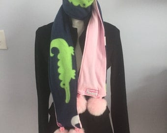 Pink Alligator Fleece Pompom Scarf