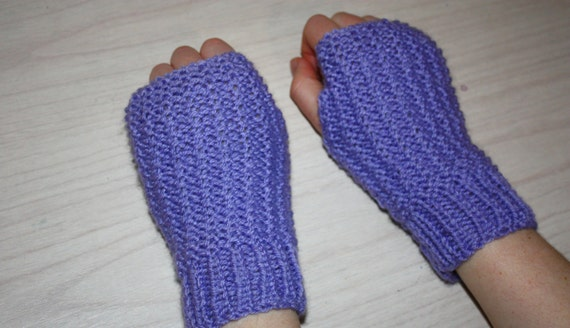 Knit Fingerless Gloves Pattern Straight Needles : Instant Download PDF Knitting Pattern, Easy Beginner Fingerless Gloves on Str...