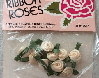 New Package 10 Off White Ribbon Roses by Offray