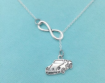 Infinity and Porsche Car Lariat Necklace, Charm, Y, Best Friend Gift, Car Lover