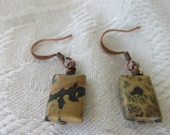 Handmade Spotted Jasper and copper Earrings