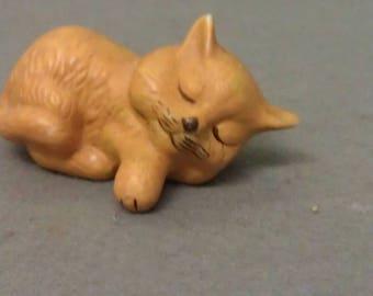Tan Cat Asleep Figurine