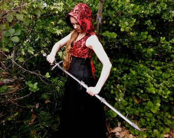 Black and Red Gothic Hooded Vest