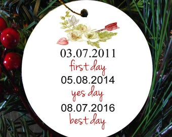 Date Ornament//couple  ornament, wedding gift, custom christmas ornament, personalized ornament