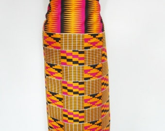 Orange and Fuchsia Kente Print Ankara Lapa, Ankara Wrap Skirt,  African Wax Maxi Skirt - Made to Order