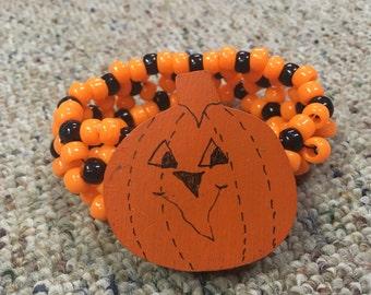Halloween jack o lantern kandi cuff