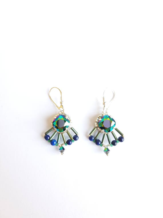 Silver earrings crystal and lapis lazulli