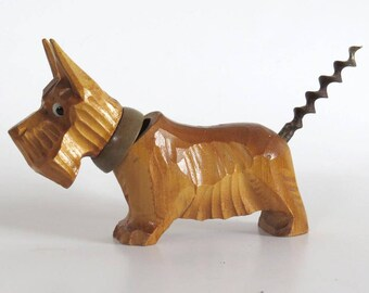 Vintage Carved Wood Scottie Dog Cork Screw