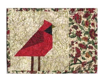 """RED CARDINAL Quilted Mug Rug Pattern 