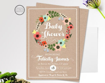 Whimsical Baby Shower Invitation | Floral Baby Shower Theme | Floral Baby Shower Invitation | Fancy Script Invite