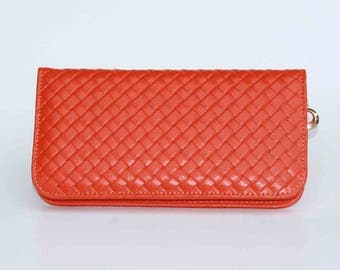 Womens Wallet, Leather Wallet, Orange Wallet,  Orange Purse