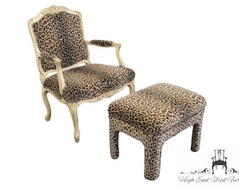 SHERRILL Louis XV French Style Leopard Print Chair And Ottoman