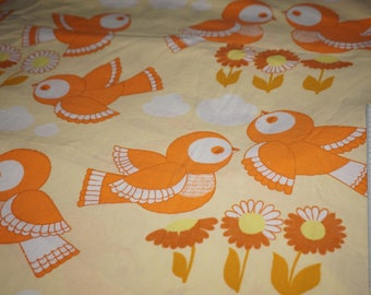 Vintage fabric 70s DDR birds sparrows fabric tissu 70s birds GDR