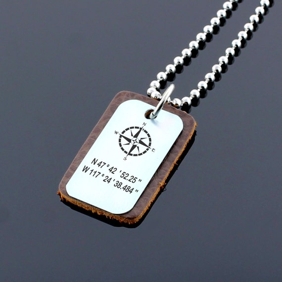Gps Coordinates Necklace: Personalized Coordinates Necklace Latitude Longitude GPS