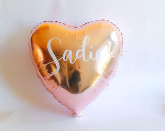 "18"" Personalised Rose Gold Heart Balloon, Wedding, Bridal Shower, Baby, Birthday"