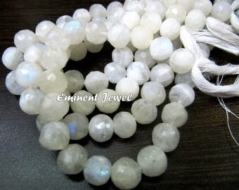 High Quality Genuine Rainbow Moonstone Faceted Round Beads , Natural White Moonstone Ball Shape Beads , Length 10 inch long , Size 8 to 10mm