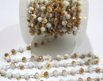 AAA Quality Mystic Coated Sunstone Hydro Quartz Beaded Chain , 6 mm Rondelle Faceted Rosary Chain , Wire Wrapped Chain , Sold per 3 FEET