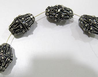 Antique Silver Oxidize Designer Handmade Fancy Shape Metal Beads , 13x20mm Silver Spacer Handcarved Beads , Sold per Piece in Wholesale Rate