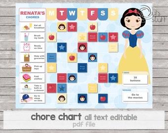 Chore chart, reward chart, behavior chart, princess