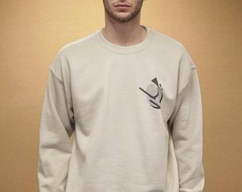 Oversized Sand Sweatshirt With Bold 90s Geometric Pattern Retro Streetwear 1011