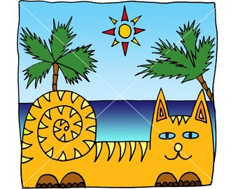 Cat on the beach. Drawing. A digital file. Can be used as an emblem, a picture on a lighter, a sticker, a picture on the wall