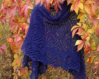 Shawl Knitting Warm Winter Wool in Dark Ink Blue Color Big Size Lace Hand Knitted Items Women Wrap Evening Everyday Outlander Christmas Gift